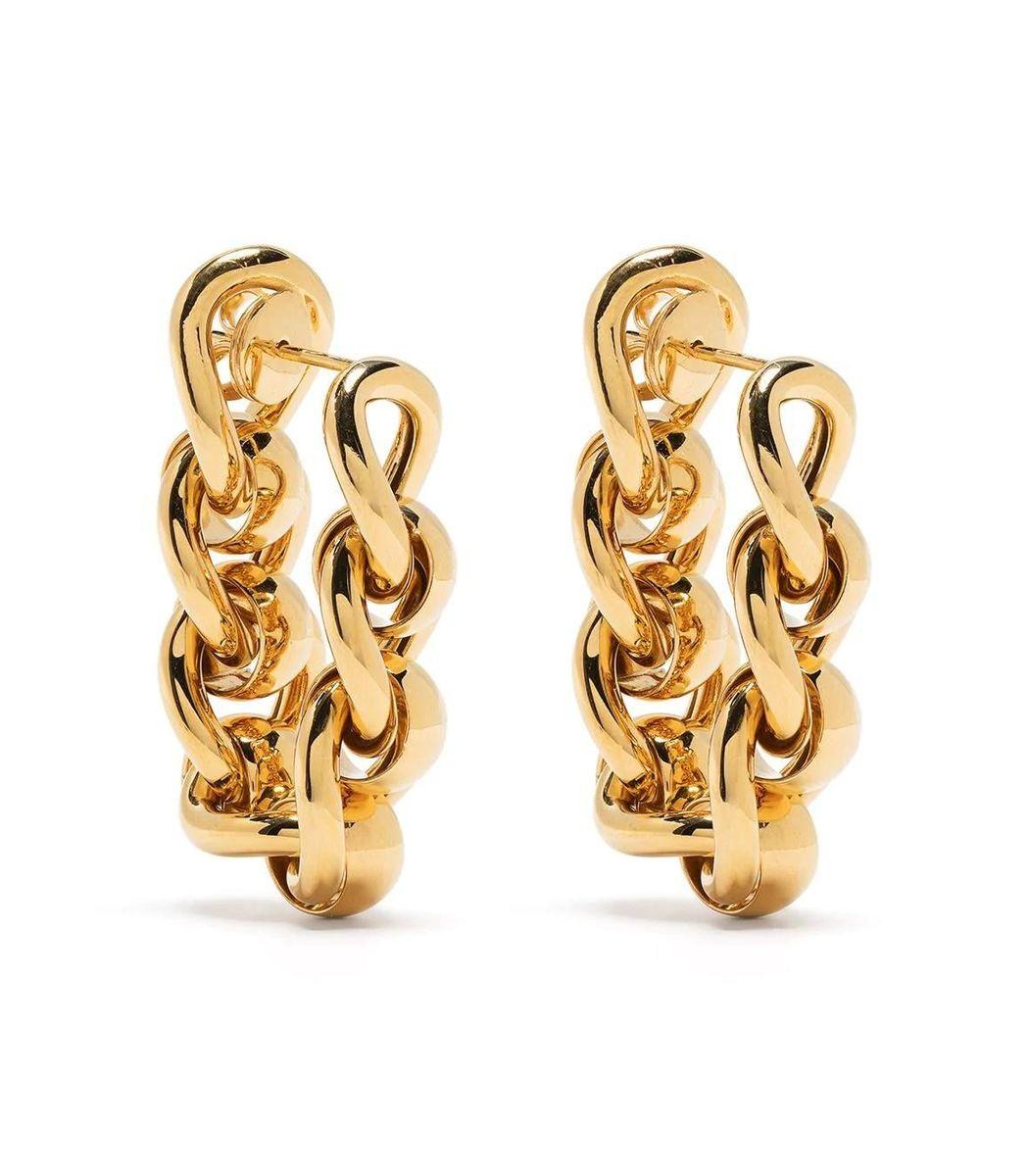 BOTTEGA VENETA Gold-tone Chain Link Hoop Earrings