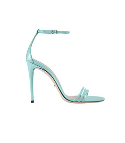 turquoise patent leather sandal