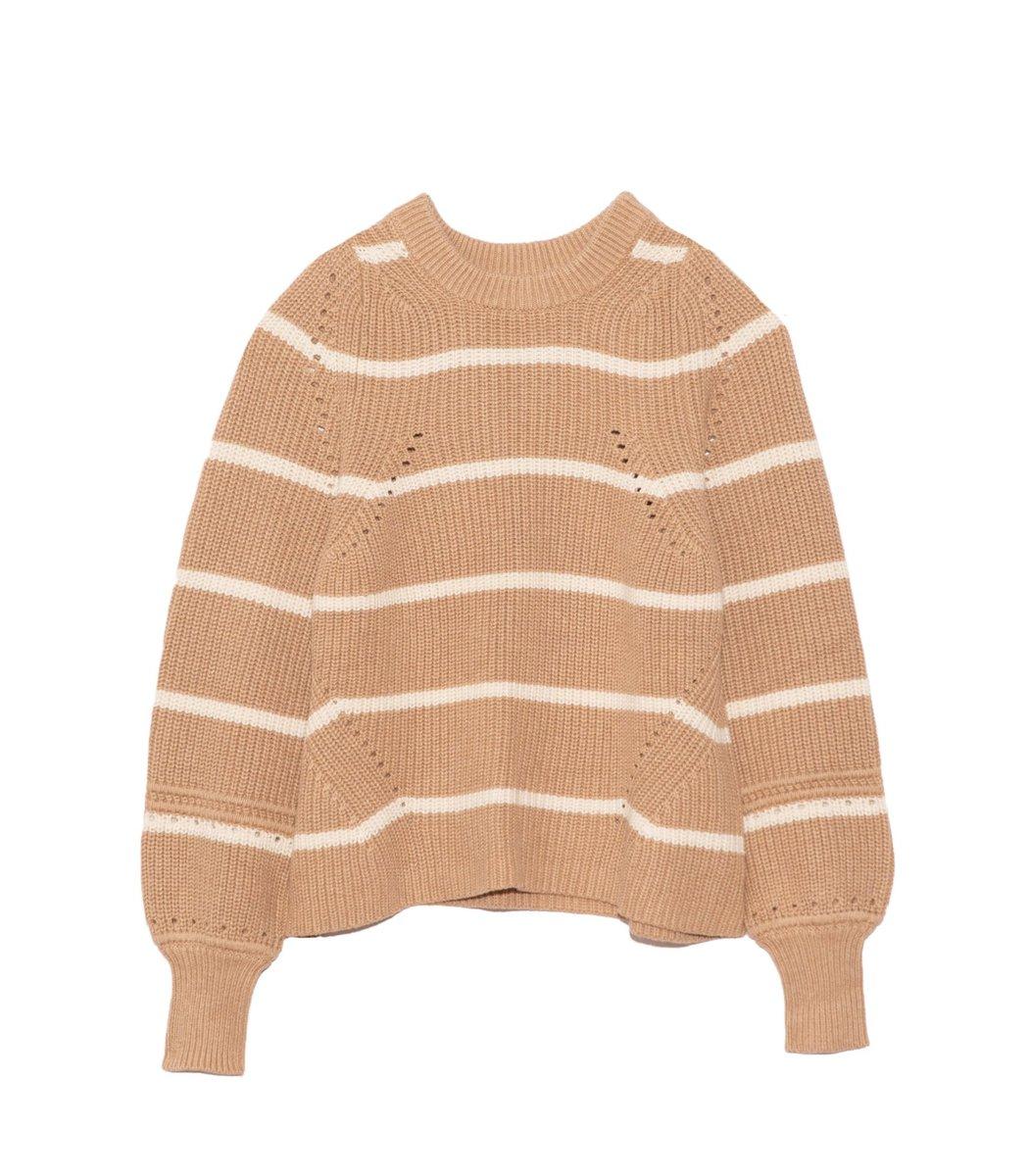 Apiece Apart Celeste Crop Knit in Cream Camel Stripe