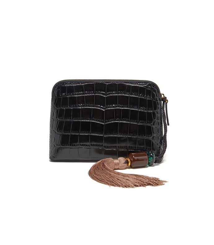 mini safari clutch in black croc with strap
