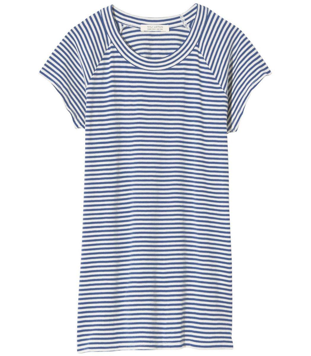 Nili Lotan Short Sleeve Baseball Tee in Sailor Blue/White Stripe