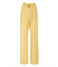 belted silk straight-leg pants