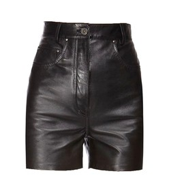nappa leather high-waist shorts