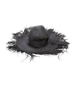 black distressed sun hat