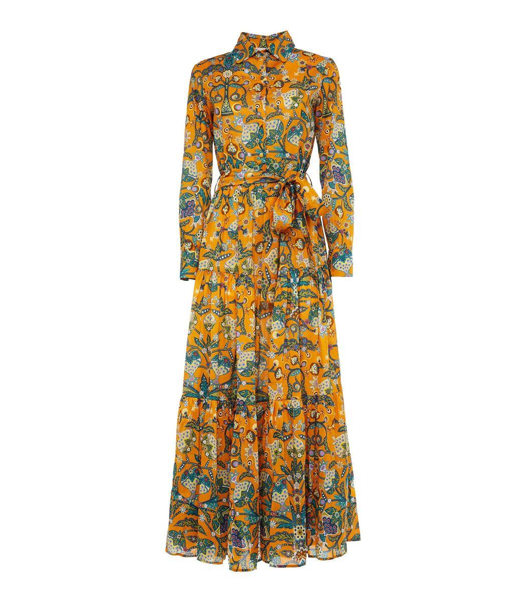 La Doublej Downs Bellini Dress in Tree of Life Arancio