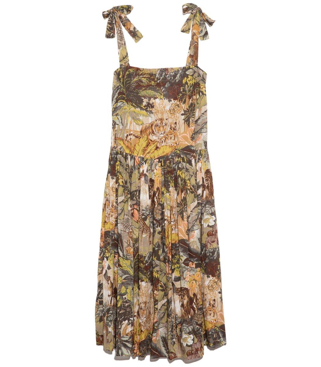 Alemais Leandra Tie Shoulder Long Dress In Khaki In Multi