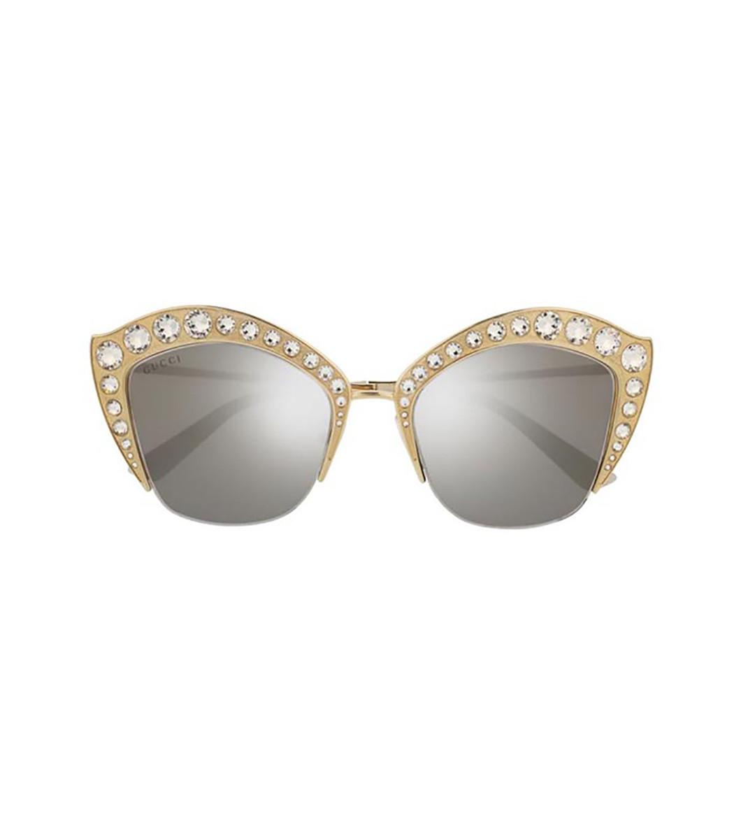 b69d8c71f33 Gucci Cat Eye Swarovski Sunglasses - Gold Silver Metal Sunglasses