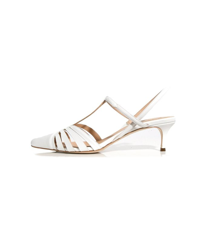 slingback lattice heel sandals in white