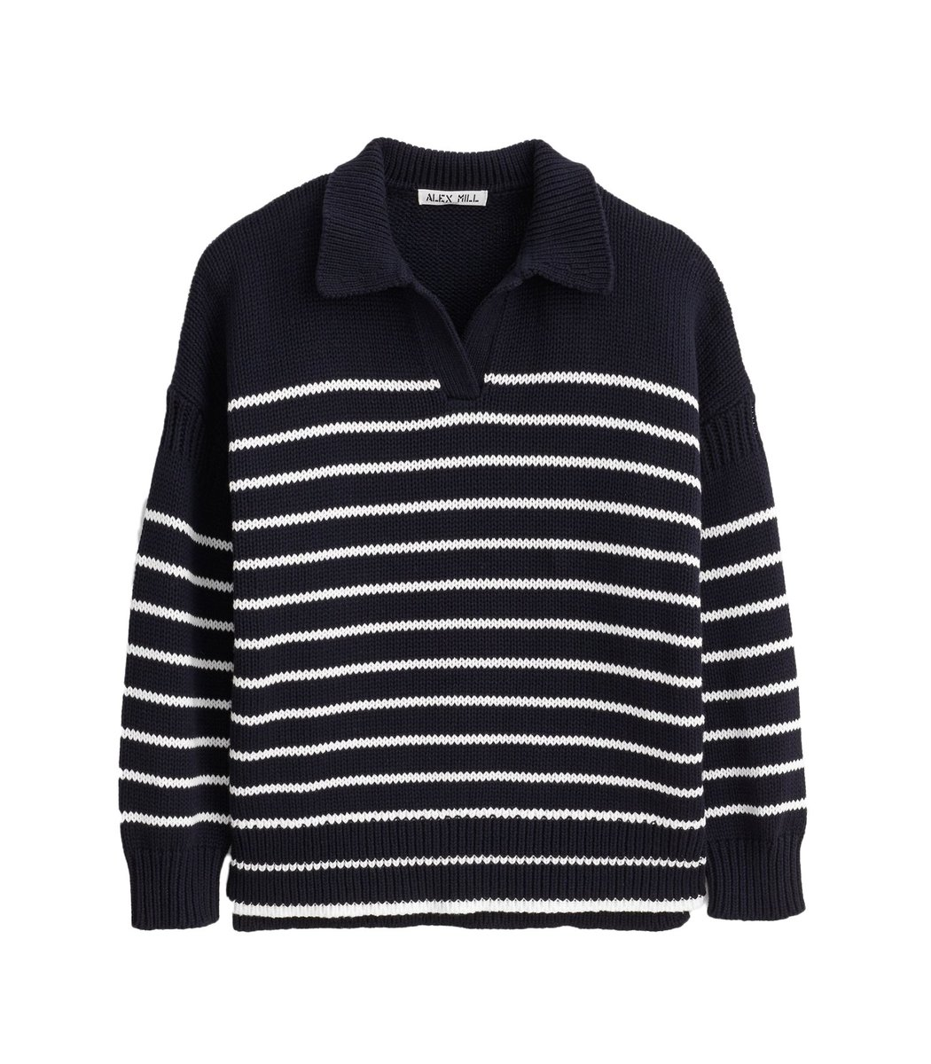 Alex Mill Cottons Jacques Stripe Pullover in Dark Navy/Ivory