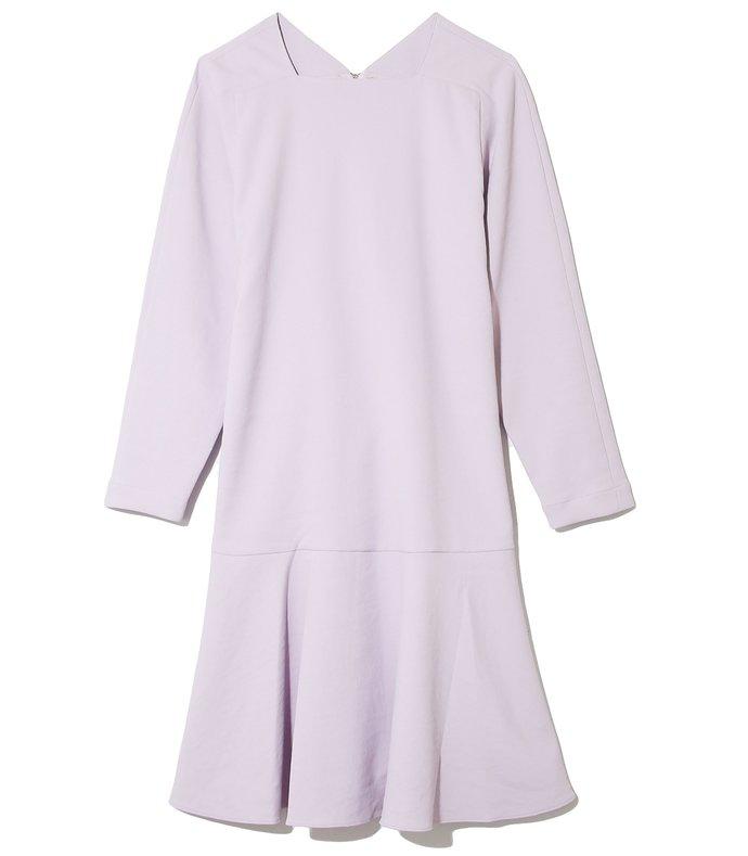 chalky drape square neck dress in lavender