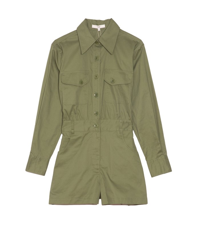 featherweight twill cargo jumpsuit in olive