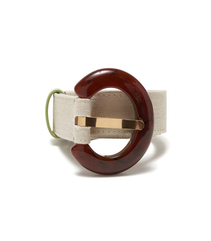 sofia belt in cream linen