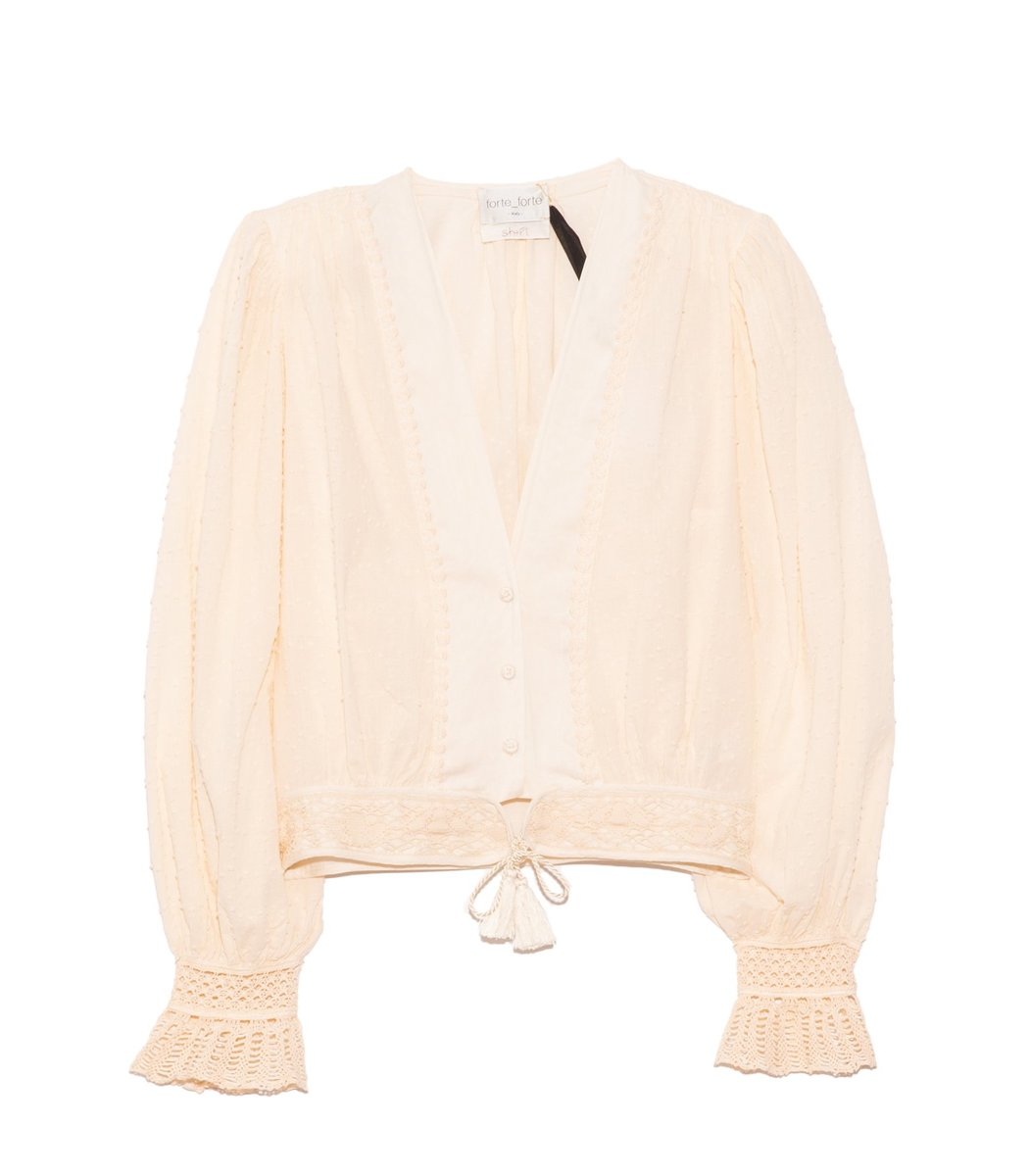 Forte Forte Plumetis Cotton Shirt in Ivory