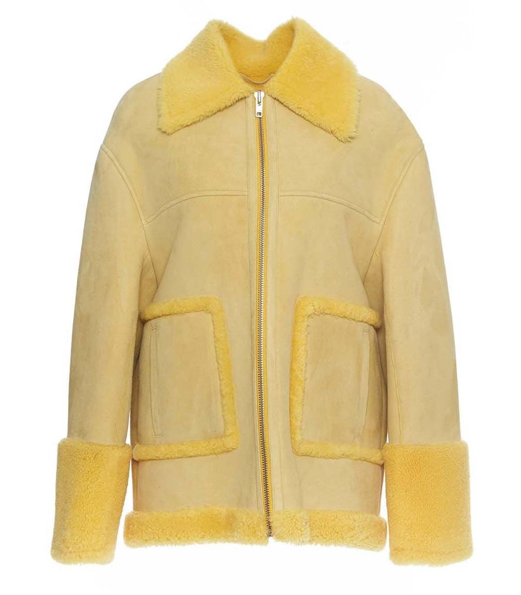 ANNE VEST Oversized Suede Shearling Jacket in Yellow