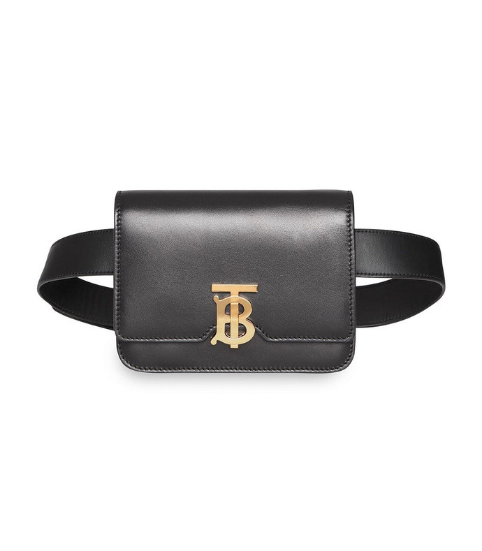 black leather belted tb bag