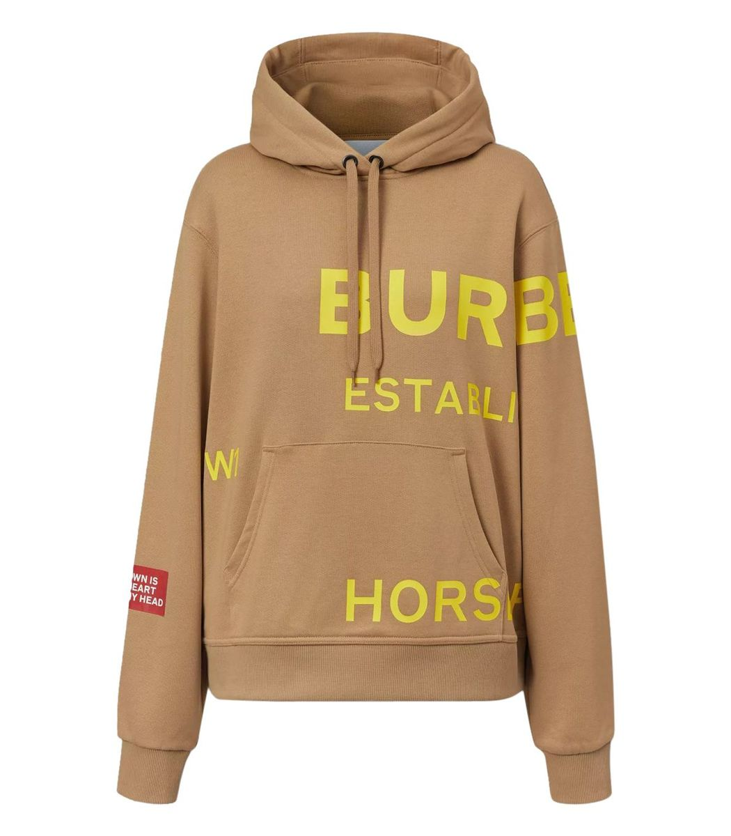Burberry Cottons Beige Horseferry Logo Hoodie
