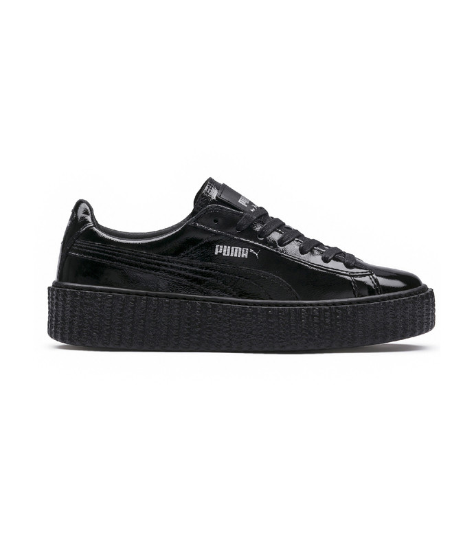 black fenty x puma cracked leather creeper