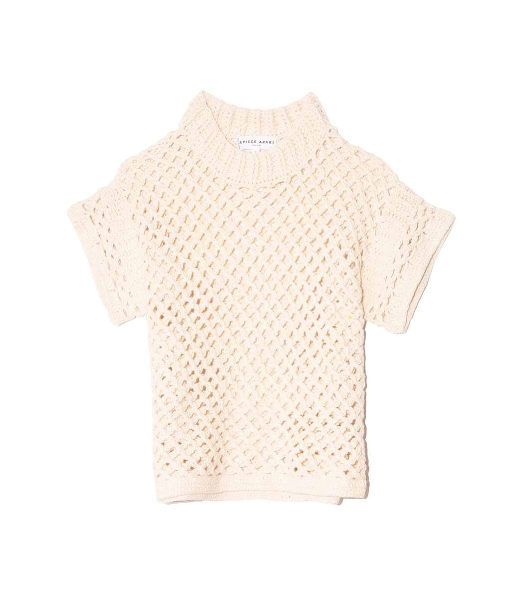 Apiece Apart Ami Cropped Net Knit Top in Cream