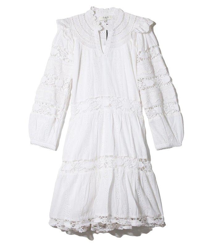 lea puff sleeve dress in pure white