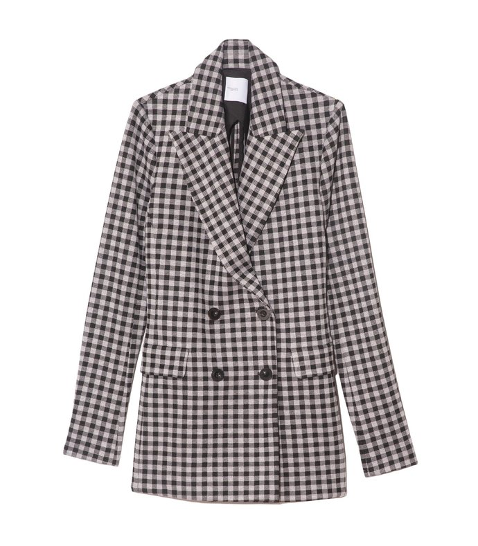gingham double breasted peak lapel jacket in gingham