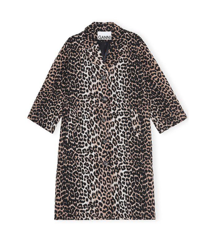 linen canvas jacket in leopard