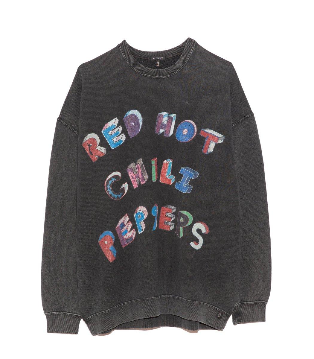R13 Sweatshirts RHCP Flea Art Oversized Crewneck in Aged Black