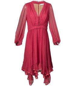 red ruffle-hem dress