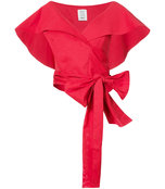red geometric wrap cropped top