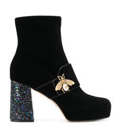 black bee glitter heel booties