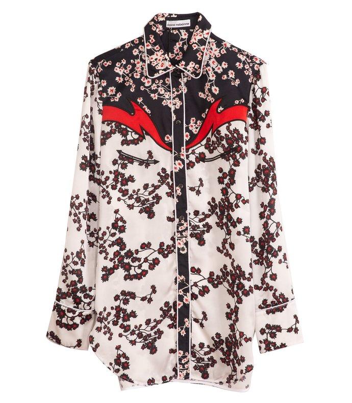 floral printed satin western shirt in white sakura