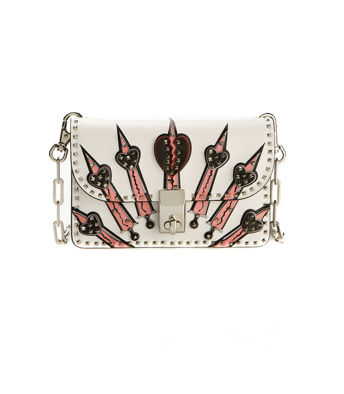 white embroidered & studded shoulder bag