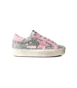 hi star sneakers in silver glitter/pink suede star