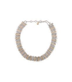 metallic contrast collar necklace