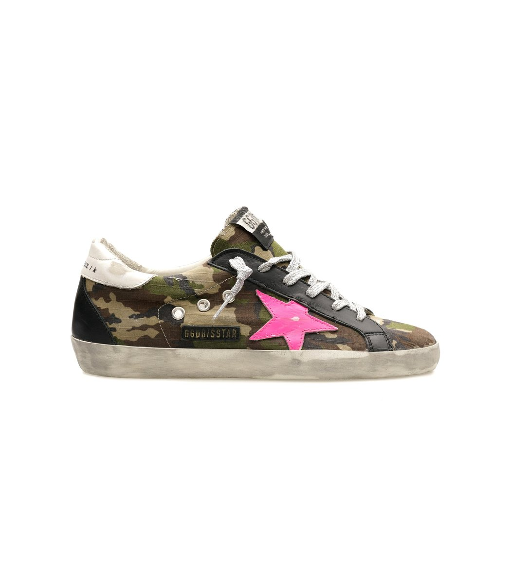 Golden Goose Superstar Sneaker in Green Camo/Fuxia Fluo/White/Black