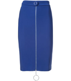 blue jupe zipper skirt