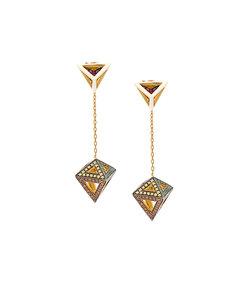gold octahedron earrings