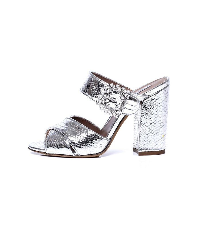 reyner sandal in silver embroidered python
