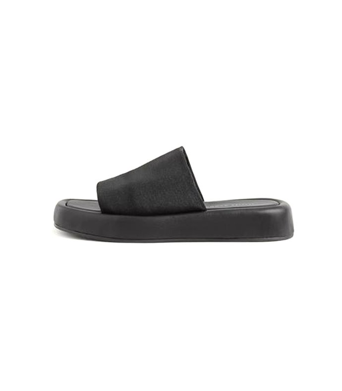 deryn stretch square toe platform slide sandal in black
