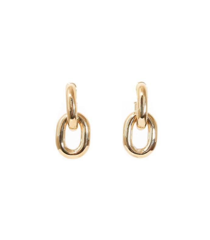 link hoop earrings in gold