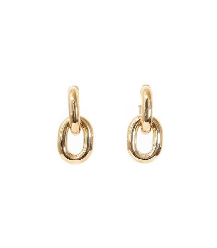 link hoop earrings in gold
