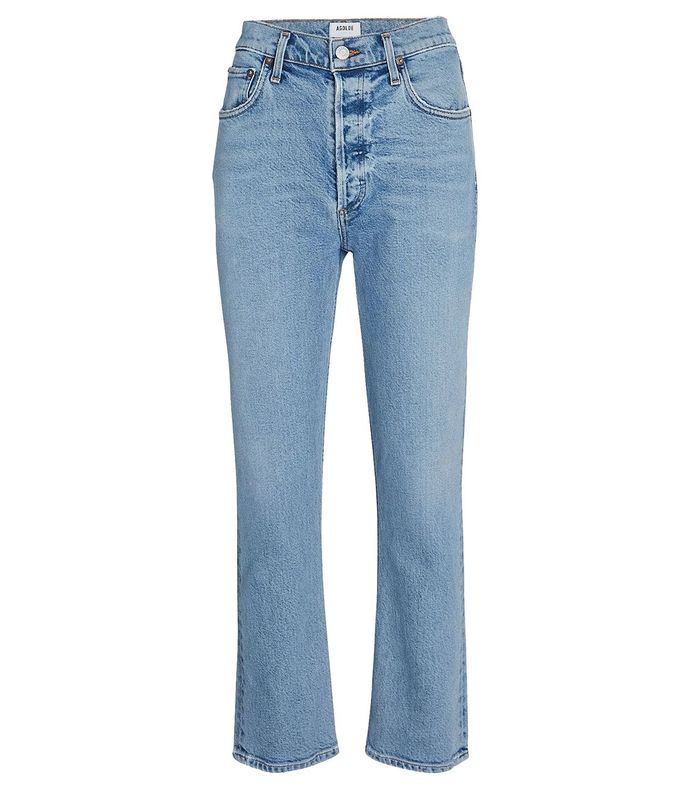 riley high rise straight crop jean shiver blue