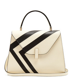 iside medium striped grained leather bag