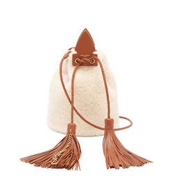 anja small shearling bucket bag