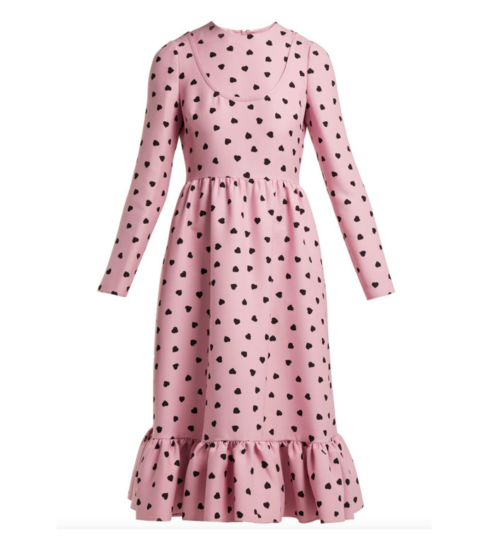 heart-print silk-crepe midi dress