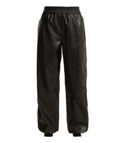 faux-leather trackpants