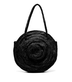 round woven leather basket bag