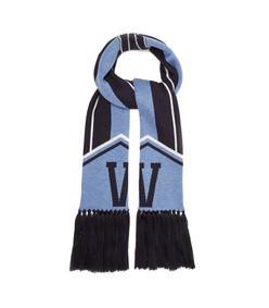 logo intarsia wool scarf