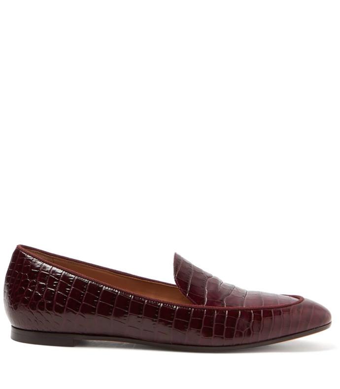 pursuit crocodile-effect leather loafers