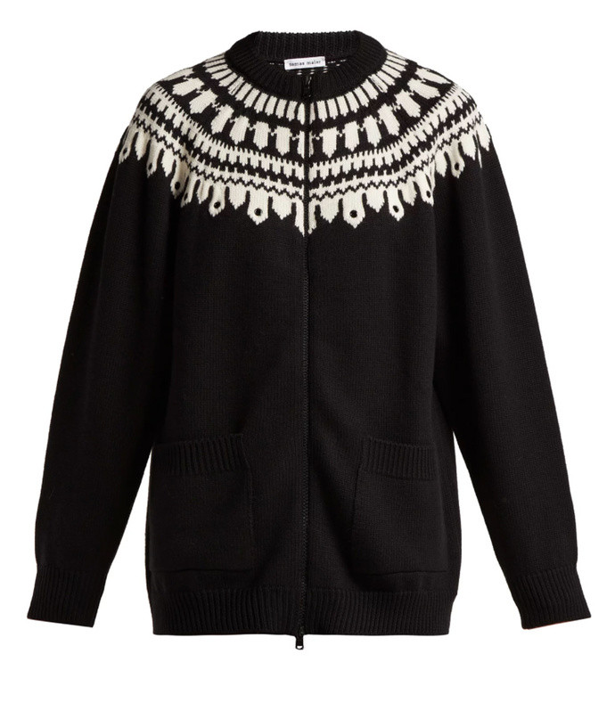fair isle zip-through wool cardigan