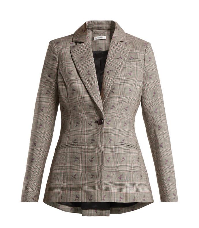 acacia prince of wales-checked blazer